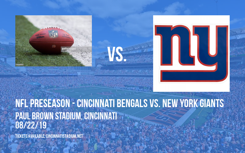 PARKING: NFL Preseason - Cincinnati Bengals vs. New York Giants at Paul Brown Stadium